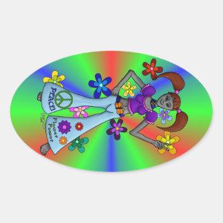 Alien Hippy Oval Oval Sticker