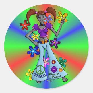 Alien Hippy Round Round Sticker