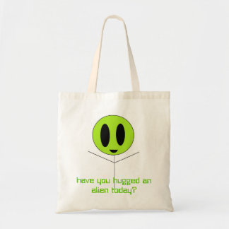 alien hug, have you hugged an alien today? budget tote bag
