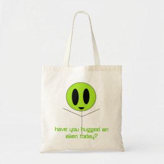 alien hug, have you hugged an alien today? budget tote bag