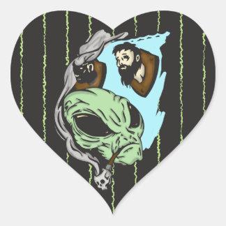 Alien Human Head Trophies Heart Sticker