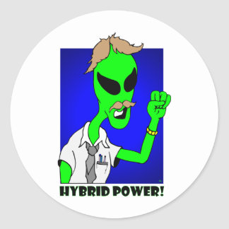 alien hybrid power classic round sticker
