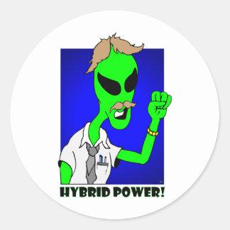 alien hybrid power round sticker