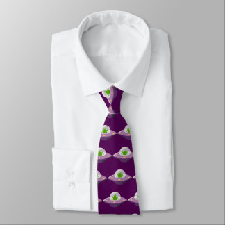 alien in ufo cartoon tie