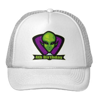 Alien Invader 4th Birthday Gifts Cap