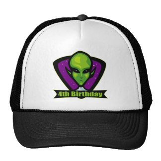 Alien Invader 4th Birthday Gifts Cap