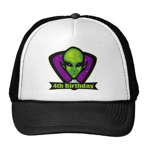 Alien Invader 4th Birthday Gifts Trucker Hats