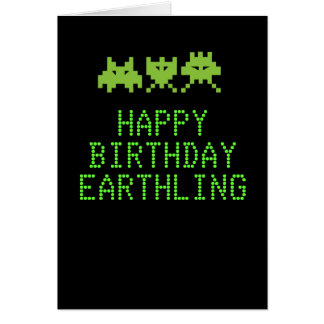 Alien invaders Birthday Card