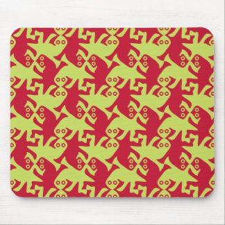 Alien kissing reptiles amaranth red lime green mouse pad