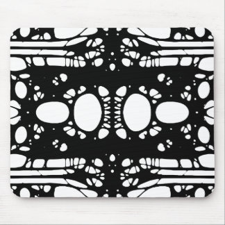 ALIEN LACE I Abstract Black White Custom Mouse Pad