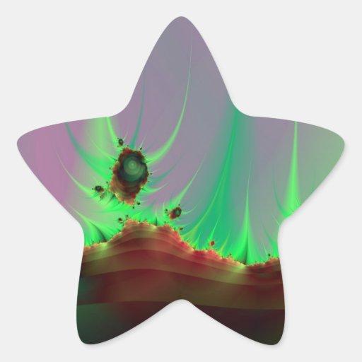 Alien Landscape in Green Stick Star Sticker