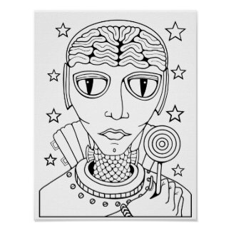Alien Lollipop Cardstock Adult Coloring Page Poster