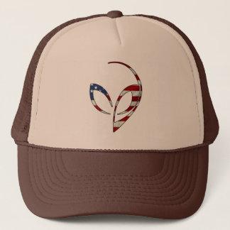 """Alien Mascot in """"American Flag"""" Trucker Hat"""