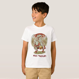 alien musician funny cartoon T-Shirt