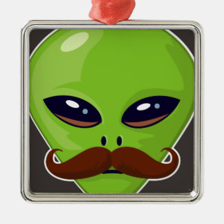 Alien Mustache Christmas Ornament