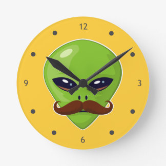 Alien Mustache Round Clock