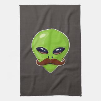 Alien Mustache Tea Towel