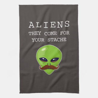 Alien Mustache Tea Towel