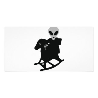 alien on rocking horse icon card