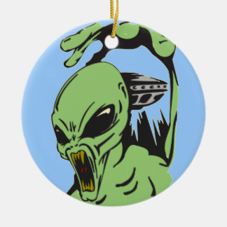 Alien On The Attack Christmas Ornament