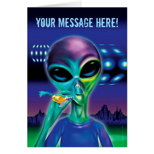 Alien Party greetings card - customised message