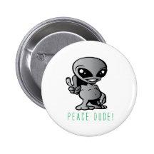 Alien-Peace Buttons
