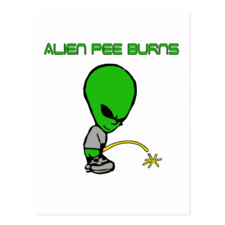 Alien Pee Burns Postcard