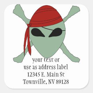 Alien Pirate Square Sticker