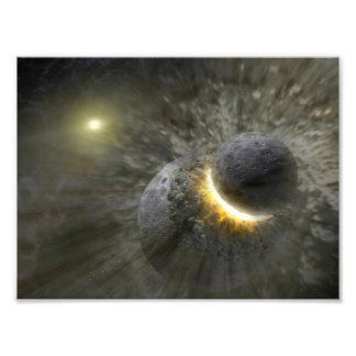 Alien Planet Collision Space Art Photograph