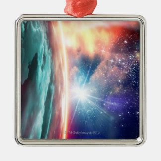 Alien planet, computer artwork. Silver-Colored square decoration