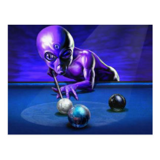 Alien Playing Pool Postcard