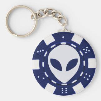 alien poker chip blue key ring