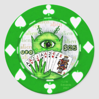 Alien Poker Chip Sticker