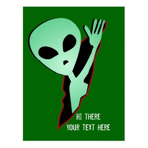 Alien postal greetings postcard