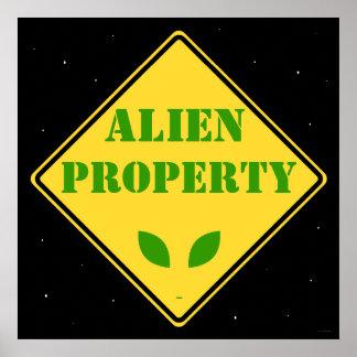 Alien Property Road Sign Poster