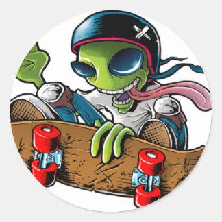 """alien radio """"stings logo """" round sticker"""