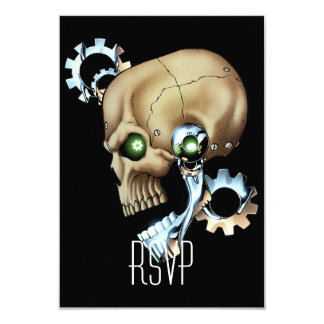 "Alien Robot Skull from the Future in Chrome + Bone 3.5"" X 5"" Invitation Card"