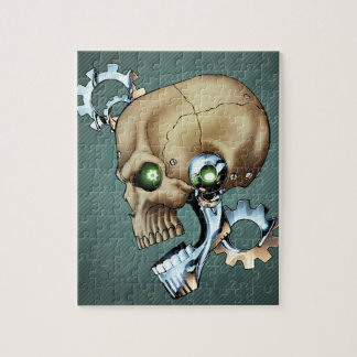 Alien Robot Skull from the Future in Chrome + Bone Jigsaw Puzzle