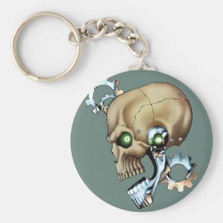 Alien Robot Skull from the Future in Chrome + Bone Basic Round Button Key Ring