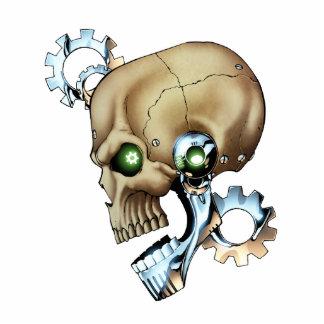 Alien Robot Skull from the Future in Chrome + Bone Standing Photo Sculpture
