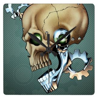 Alien Robot Skull from the Future in Chrome + Bone Wall Clocks