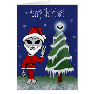 Alien Santa Christmas Cards