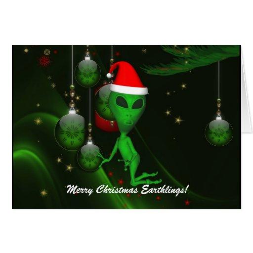 Alien Santa Christmas Ornament Greeting Card