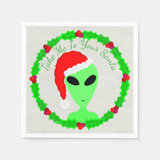 Alien Santa Holly Wreath Funny Christmas Party Paper Napkin