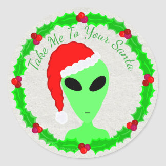 Alien Santa Holly Wreath Little Green Man Round Sticker
