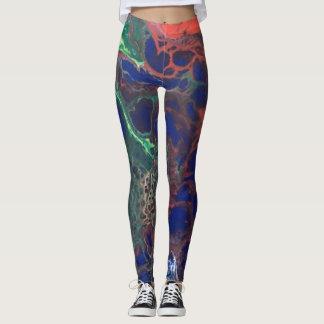 Alien skin - Red and blue poured paint design Leggings