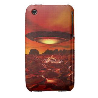 Alien spacecraft over an alien planet, computer iPhone 3 case