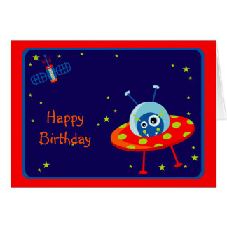 Alien Spaceship Birthday Card