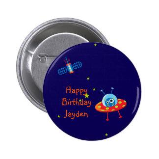 Alien Spaceship Birthday Magnet 6 Cm Round Badge
