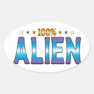 Alien Star Tag v2 Oval Stickers